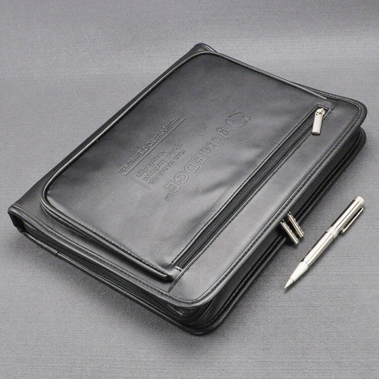 A4 cuir document zipper sac noir organiseur sacs homme manager sac mallette pour documents padfolio dossier zippé 1179B