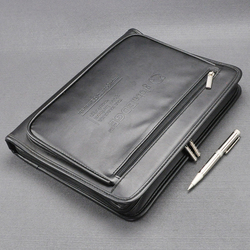 A4 leather document zipper bag black organizer bags men's manager bag briefcase for documents padfolio file zipped folder 1179B