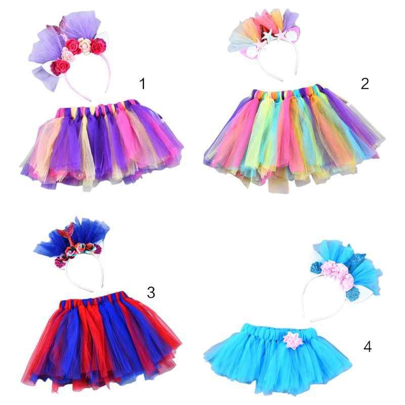 1//2 PCS Girls Tutu Skirt LED Light Up Multilayer Tulle Fluffy Princess Dancing Skirt