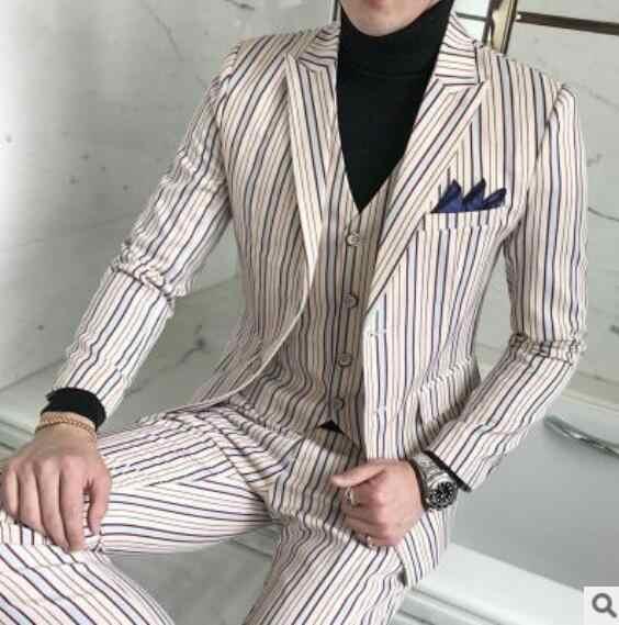 2018メンズストライプスーツ結婚式新郎タキシード春メンズ仕立て3ピーススーツブルーカーキ結婚式タキシード用男性サイズ5xl