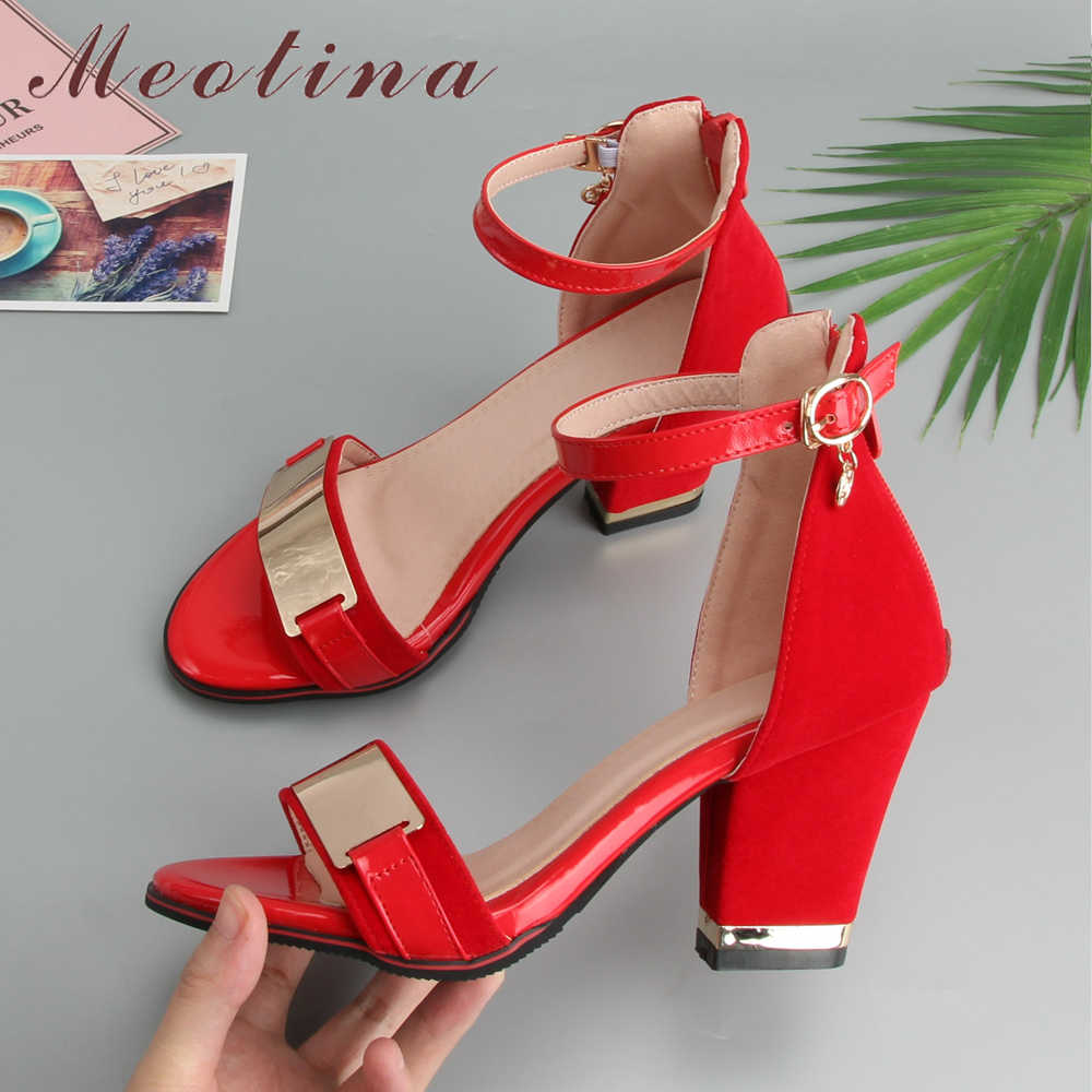 Meotina Women High Heels Sandals Zipper Spike High Heel Party Shoes Elegant Ankle Strap Sandals Ladies Summer Red Big Size 33-43