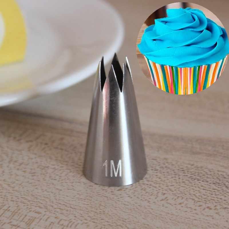 เปิด Star Pastry TIP 1M ท่อหัวฉีดเค้กตกแต่งเคล็ดลับการเขียน Tube Icing Nozzle เบเกอรี่ & Pastry เครื่องมือเบเกอรี่เครื่องมือ