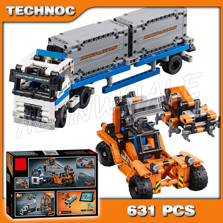 631pcs 2in1 Technic Container truck and loader Straddle-Carrier Yard 20035 Model Building Kit Blocks Toys Compatible with <font><b>Lego</b></font> image