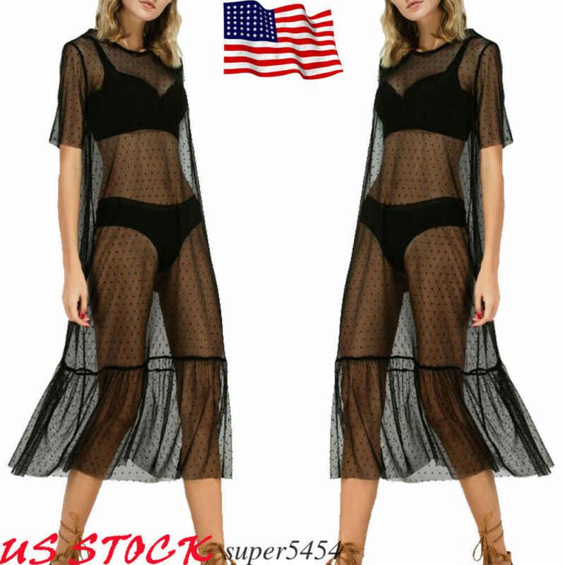 Wanita Pakaian Renang Baju Renang Menutupi Renda Jala Lengan Pendek Panjang Gaun Pantai Gaun Bikini Cover Up Baju Renang Wanita Baju Renang Cover
