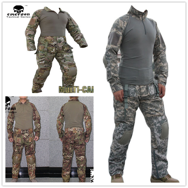 Combat army uniform EMERSON tactical frog suit shirt & pants with knee pads elbow pads Suits multicam ACU VEG a tacs tactical combat uniform gen3 shirt pants military army pants with knee pads size s xxl acu multicam woodland digi camo