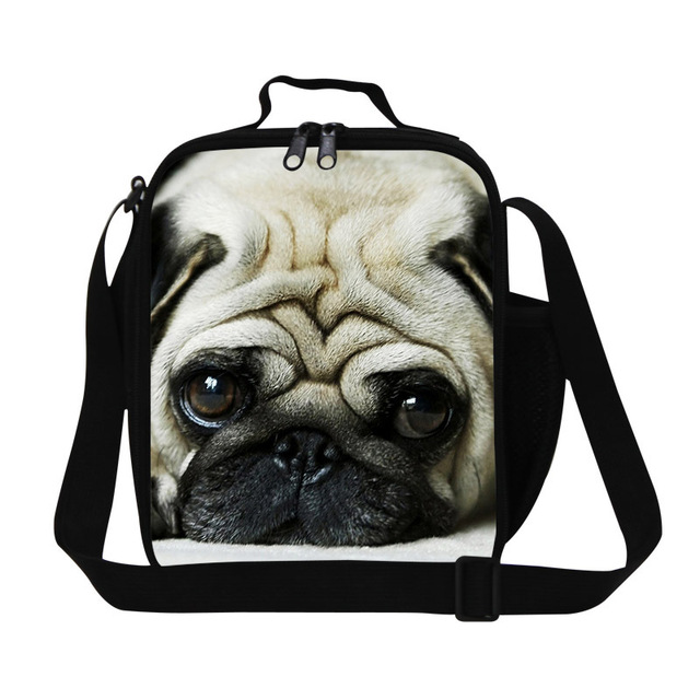 d1c14a65f9594 Dispalang śliczne pug pies drukowanie 3d izolowane torby chłodnicy obiad  zwierząt spersonalizowane obiad lunch box dla
