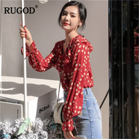 RUGOD 2019 Spring spotted chiffon women tops v neck peter pan collar lantern blouses red sweet cute ladylike modis women tops