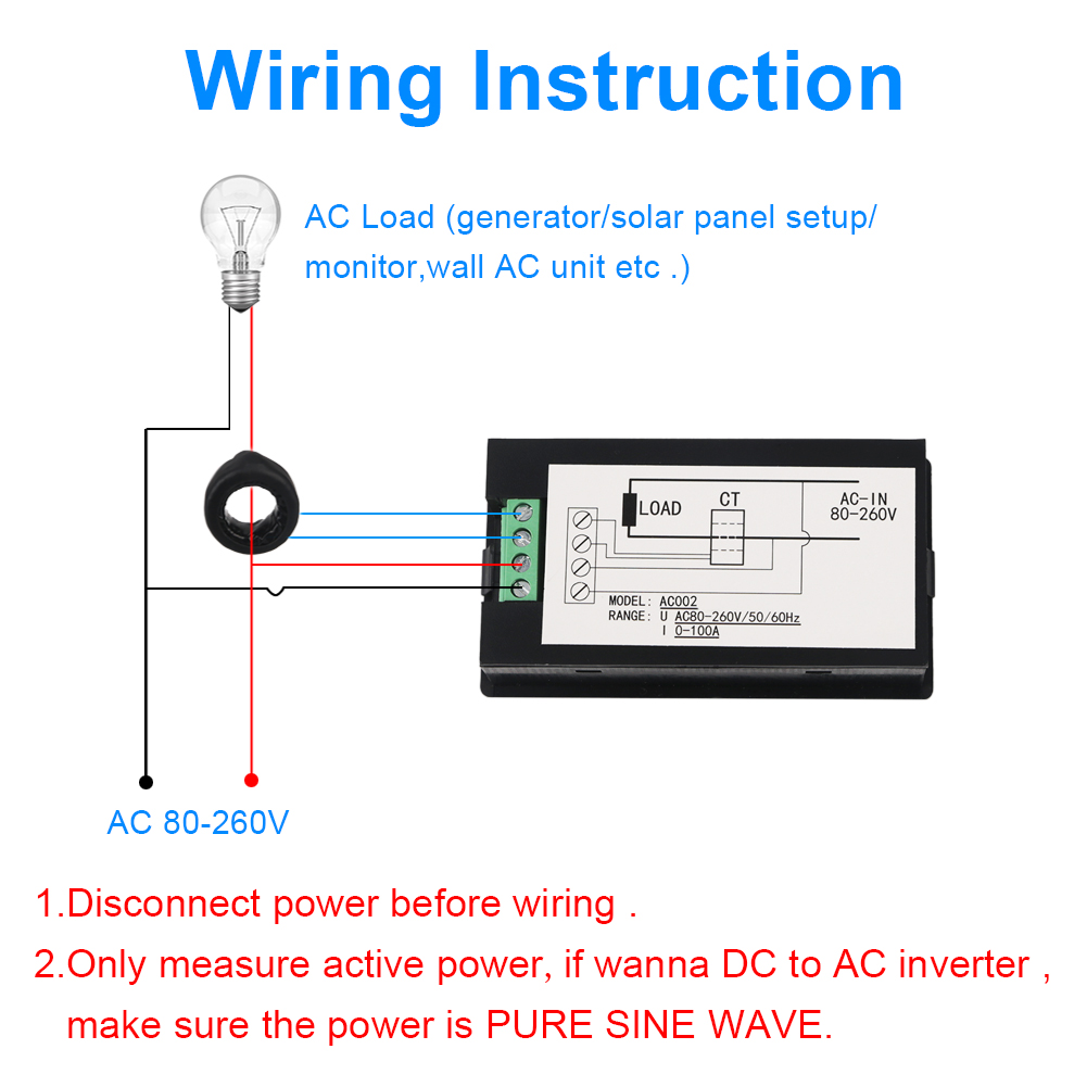 hight resolution of ledsmith 4 in 1 combo digital lcd voltage meters ac 80 260v 100a power energy