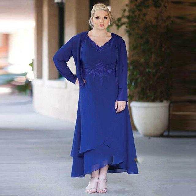 Azul Royal Mãe Dos Vestidos de Noiva 2017 Cap Sleeve Plus Size Sem Mangas Apliques de Renda Para O Vestido de Noite Formal MD7