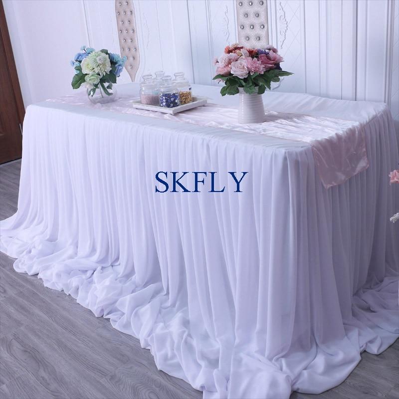 CL071B nice 2019 custom made many colors wedding long drape chiffon pleated white table skirt with