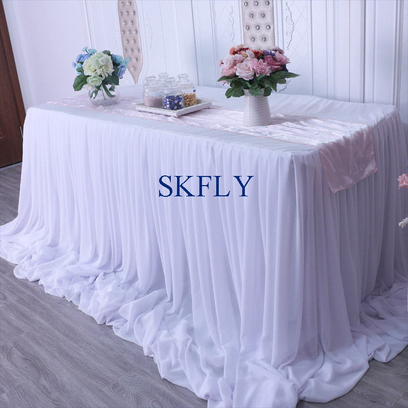 CL071B nice 2019 custom made many colors wedding long drape chiffon pleated white table skirt with velcroCL071B nice 2019 custom made many colors wedding long drape chiffon pleated white table skirt with velcro