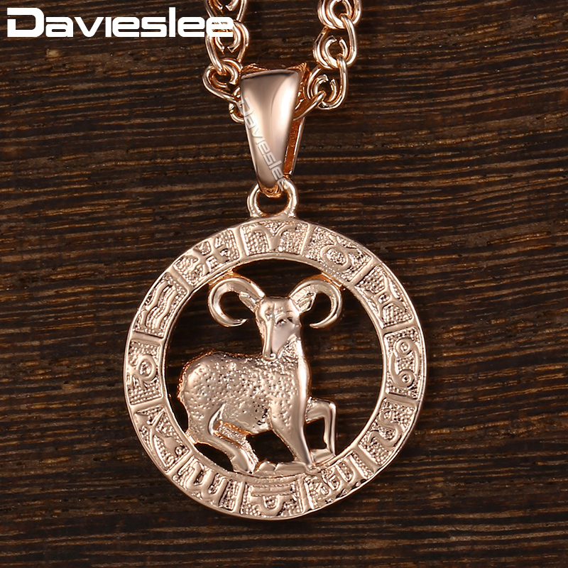 Davieslee 12 Zodiac Sign Constellation Pendant Necklace For Women Men Rose Gold Filled Round Shaped DGPM16