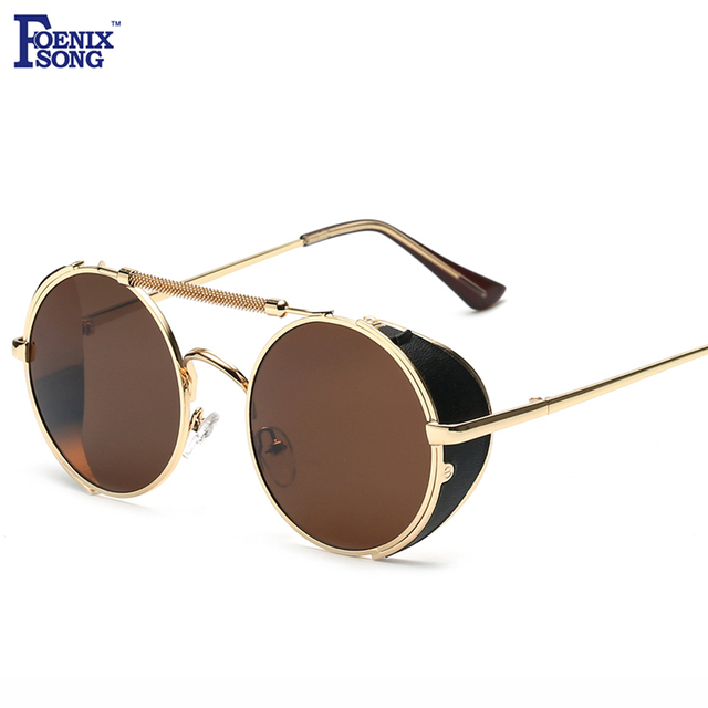 e49f20077dee FOENIXSONG Vintage Mirror Sunglasses Women Men Gold Frame Steampunk Round  UV400 Sun Glasses Retro Gafas De Sol Feminino