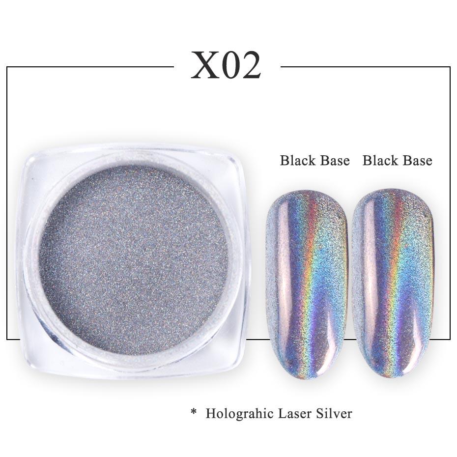 Зеркальный лак для ногтей, порошковая голографическая металлическая розовые, золотые, серебряные пылезащитные блестки, УФ-гель для ногтей, хромированное пигментное украшение CHC/ASX - Цвет: X02
