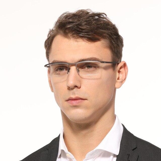 Homens Óculos de Prescrição Óptica Óculos de Titânio puro Quadro M Negócio Retângulo Leve Óculos oculos de grau