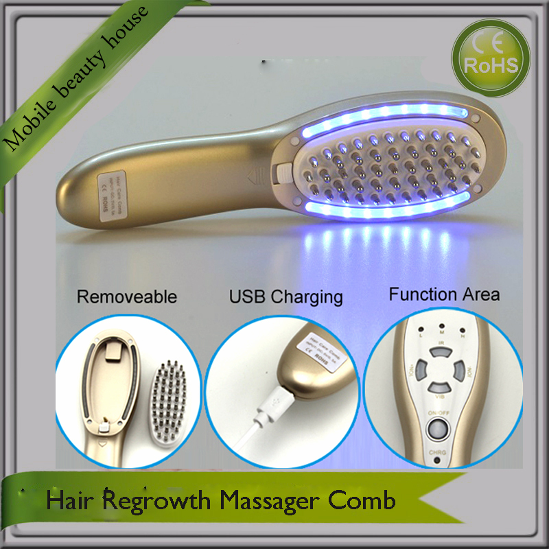 Mini Portable Rechargeable Gold Color Hair Regrowth Massager Comb For Hair Loss Treatment Photon Therapy Beauty Machine laser comb treatment fast activate hair follicles hair regrowth micro current scalp massage instrument for thinning hair