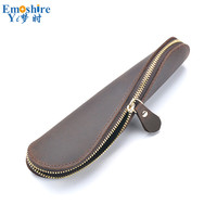 Handmade Pen Bag Stationery Creative S shaped Pencil Bag Retro Leather Pen Case Fashion Pencil Case for Writing Supplies B281