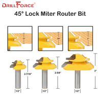 45 Degree Lock Miter Router Bit 1/2''(12.7mm) Shank Tenon Cutter Milling Cutters For MDF Plywood Wood Cutter Woodworking Tools
