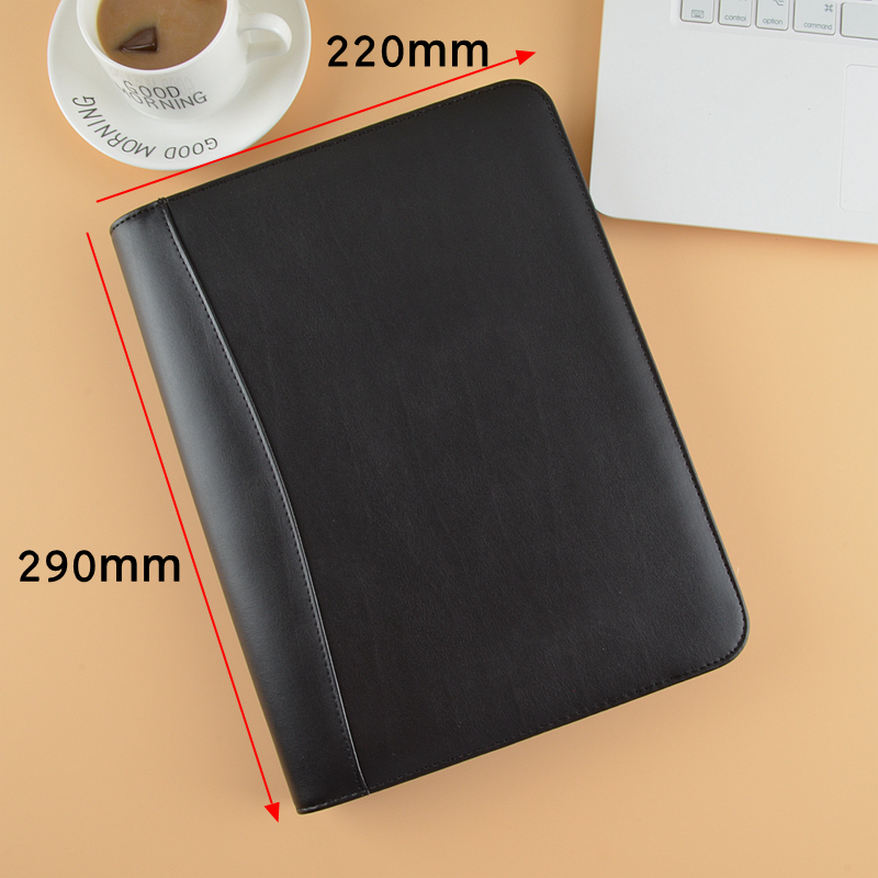 PU leather Business Padfolio Manager bag with Calculator zipper B5 18K Black Classic Sales Man Writing Pad Memo Pad Briefcase|Padfolio| |  - title=