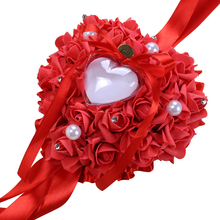 6 Colors Heart-shape Artificial Rose Flowers Valentine's Day Gift Ring Box Romantic Wedding Jewelry Case Ring Cushion Holder heart shaped wedding ring pillow artificial rose flowers crystal fake pearls decor ring holder d1 decor