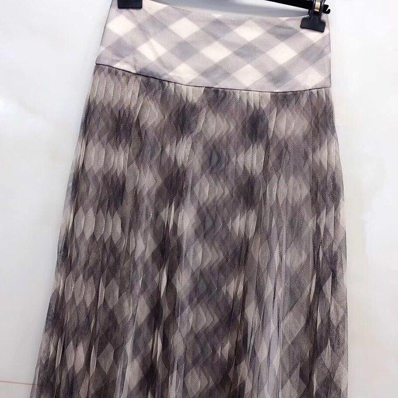 Элегантные длинные юбки для женщин, милая офисная юбка с принтом для леди 2019, модные юбки с высокой талией, новые женские юбки - 2
