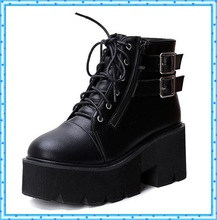 lace up winter boots with fur women punk boots platform shoes woman wedges high heels ladies