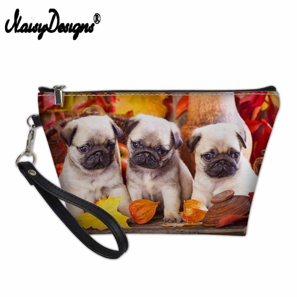 Women Cosmetic Bags Make up Cases Cute Pet Animal Pug Dog Pencil Pouch Child Girls Boys Stationery School Supplies Dropshipping