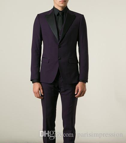 New Arrival Purple Wedding Suits For Men Black Satin Notched Lapel Grooms Tuxedos Two Piece Mens