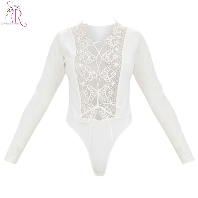 6ecbb79776 Black and White Sexy Lace Bodysuit Thong Women Plunge Lace up Lattice Tied  Front Long Sleeve Deep V Neck Silm Skinny Club Wear