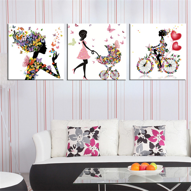 Frameless Dancing Girl Oil Painting Butterfly Wall Poster Canvas Art Hd Modular Modular Pictures Home Decor Include 8 Color In Painting