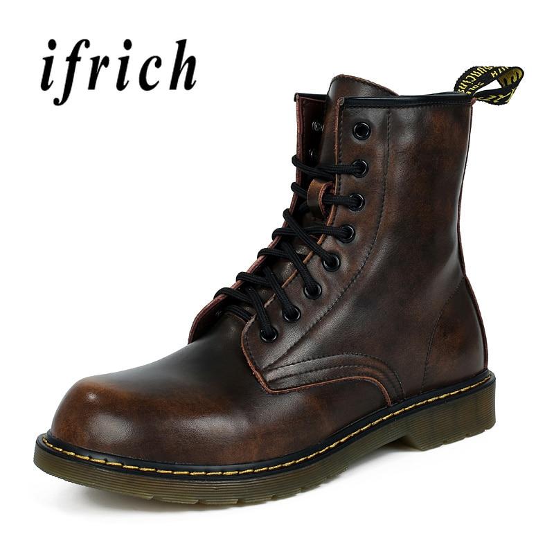 اليدوية زائد حجم 46 47 الرجال حذاء برقبة للعمل البريطانية الرجعية الأحذية أزياء الشتاء مع الفراء بوط من الجلد الطبيعي الرجال الدانتيل يصل أحذية رياضية-في أحذية العمل والسلامة من أحذية على  مجموعة 1