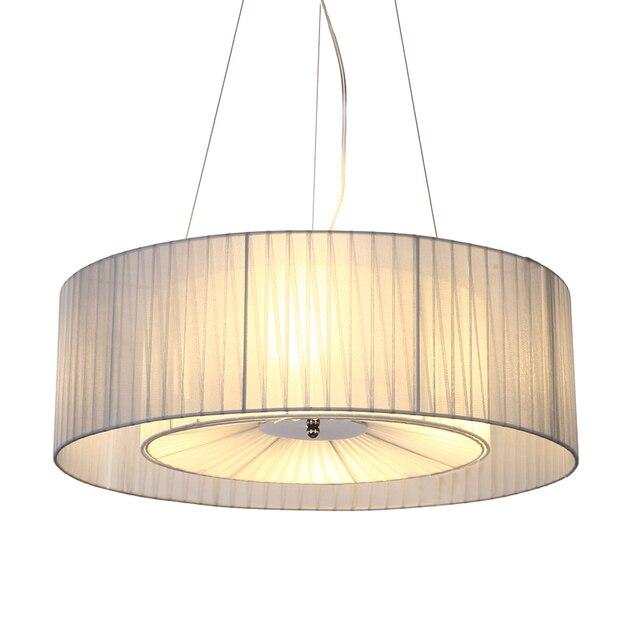 Modern Simple Fabric Shade Drum Chandelier Light Nordic Hanging Lamp Restaurant Bedroom Living Room Lighting Fixture
