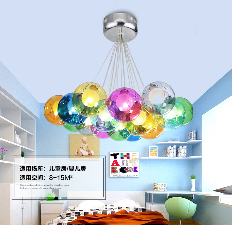 Nordic Modern Style Glass Ball Bubble Balloon Pendant Light Coffee Shop Children Bedroom Hanging Lighting