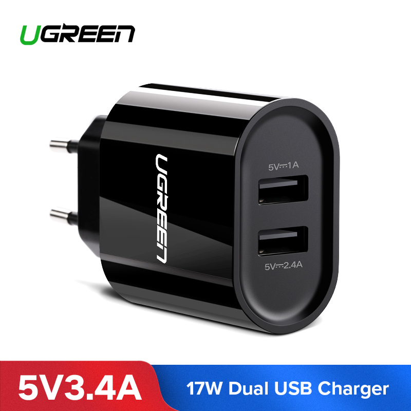 Ugreen USB Charger 3.4A 17W for iPhone 8 X 7 6 iPad Smart USB Wall Charger for Samsung Galaxy S9 LG G5 Dual Mobile Phone ChargerUgreen USB Charger 3.4A 17W for iPhone 8 X 7 6 iPad Smart USB Wall Charger for Samsung Galaxy S9 LG G5 Dual Mobile Phone Charger