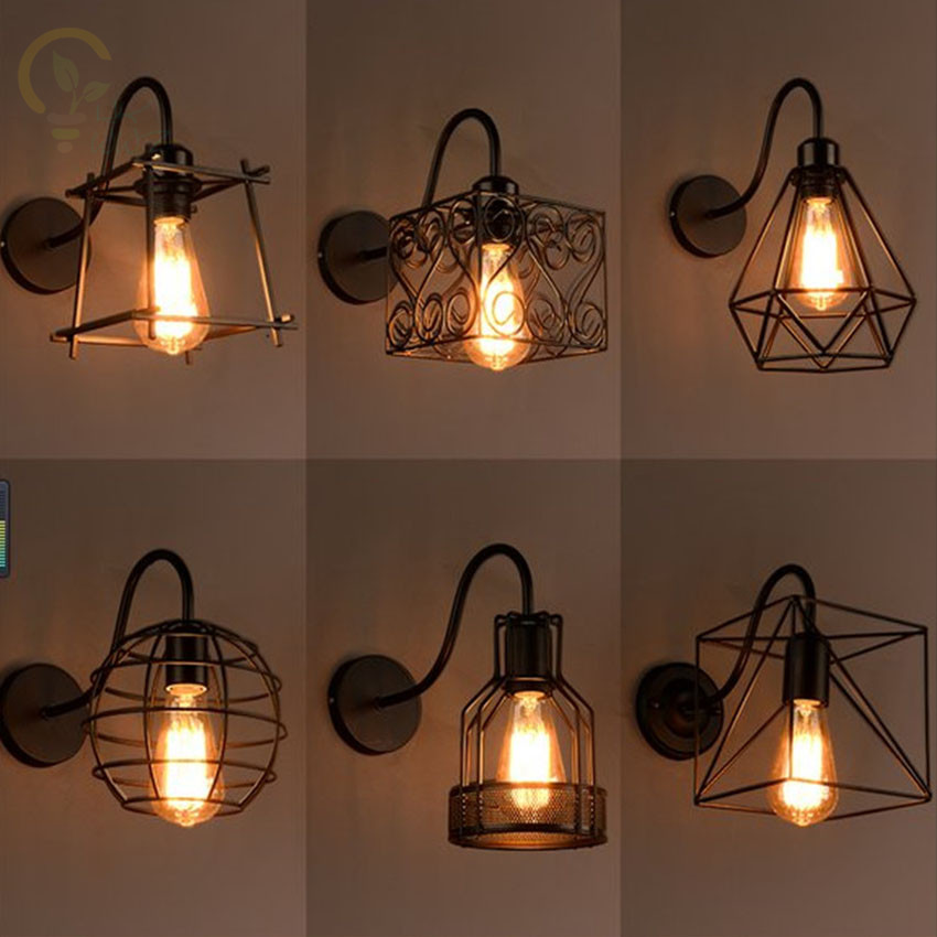 Modern Vintage Industrial Metal Cage Led Wall Lamps Steel Wire Iron Wall Sconce Retro Light Edison Light FixturesModern Vintage Industrial Metal Cage Led Wall Lamps Steel Wire Iron Wall Sconce Retro Light Edison Light Fixtures