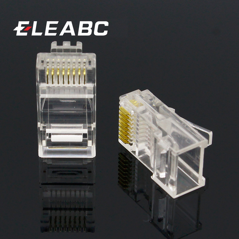 Brand New 100PCS Crystal Head RJ45 CAT5 CAT5E Modular Plug Gold Plated Network Connector