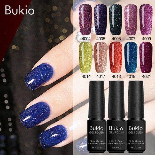 Bukio Glitter Neon Nail Gel Polish 7ml Professional Gel Varnish Semi Permanent Uv Led Lamp Nail Art Lucky Gel Lacquer Manicure