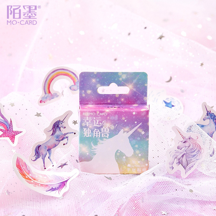 46pcs Dreamy Colour Lucky Unicorn Adhesive Sticker Kawaii Sticky Scrapbook Decoration School Office Supplies Cute Stationery