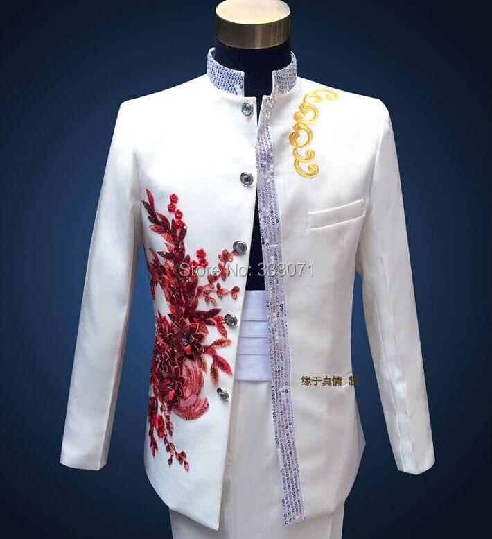 Custom made stand collar Men\'s Suits Blue applique Groom Tuxedos ...