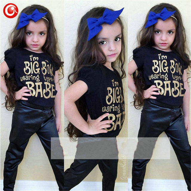 Summer 2016 Toddler Girl Clothing Set ensemble enfant fille Words T shirt+Leather Pant Suits Kids Girls Clothes Children's Set