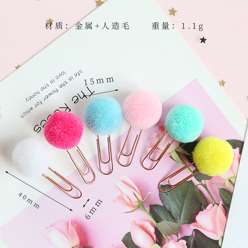 Image 3 - 72 pcs/Lot Cute color plush ball bookmarks for books Metal clips Stationery gift office school supplies marcador de livro F108-in Bookmark from Office & School Supplies