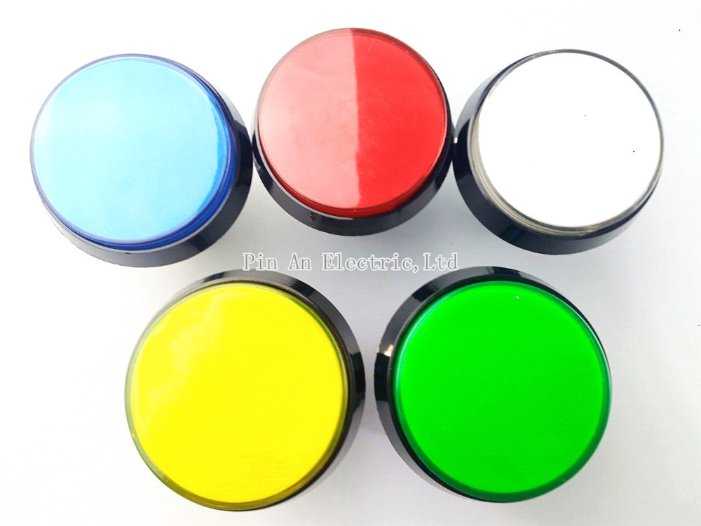 Hot 5 Colors LED Light Lamp <font><b>60MM</b></font> Big Round Arcade Video Game Player Push <font><b>Button</b></font> Switch image