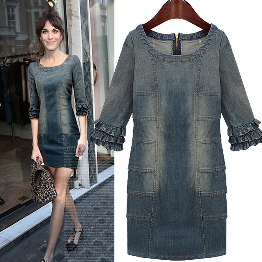 New Women Dress 2014 Summer Fashion Vintage Retro Finishing O Neck Petal Sleeve Denim Dress In