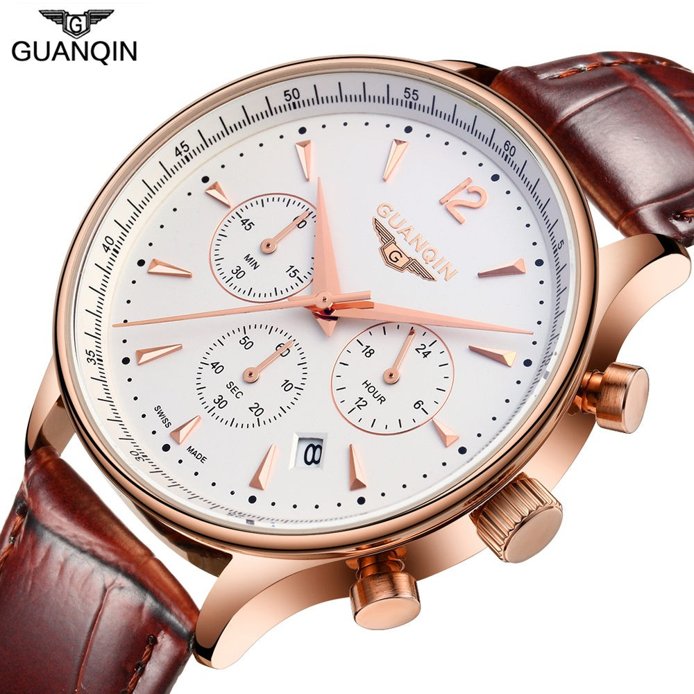 Men Sport Watch Top Brand Luxury GUANQIN Men's Fashion Casual Big Dial Date Waterproof Genuine Leather Men Quartz Wrist Watches big size dial plate fashion men s quartz leather watch wrist strap watches 8 type optional top quality