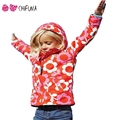 chifuna Hot 2017 Kids Girls Spring Autumn Clothes Coats Fashion Flower Print Girl Children Outerwear Windbreaker Hooded Clothing