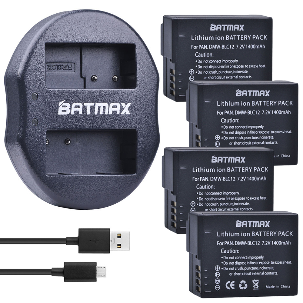 4Pcs DMW-BLC12 BLC12E BLC12PP BLC12 Batteries + USB Dual Charger for Panasonic Lumix FZ1000,FZ200,FZ300,G5,G6,G7,GH2,DMC-GX8 3pc dmw blc12 dmw blc12e blc12 1400mah rechargeable li ion battery dual charger for panasonic fz1000 fz200 fz300 g5 g6 g7 gh2 page 4