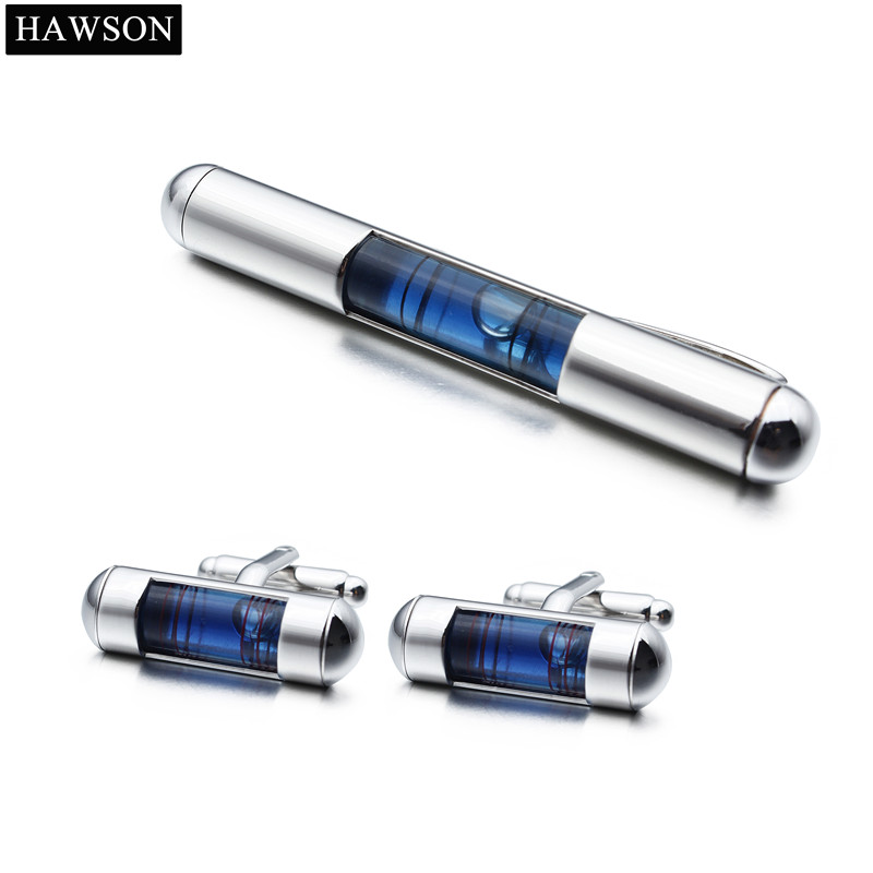 Novelty Blue Level Cufflinks Tie Clip Set Mens In Box Air Bubble Cylinder Cuff Links tie cuff button front blouse