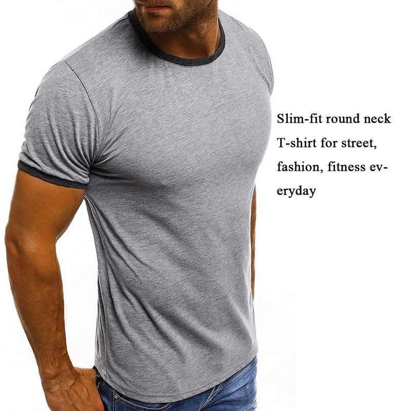 Litthing 2019 di Marca dei Nuovi Uomini T Shirt di Cotone di Colore Solido Tee Magliette e camicette di Modo Slim Fit Camiseta Masculina casual O collo Tee Shirt