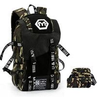 Korean Style 3 Piece Backpack Sets Large Camouflage Backpack Men Graffiti Canvas School Bags Large Capacity