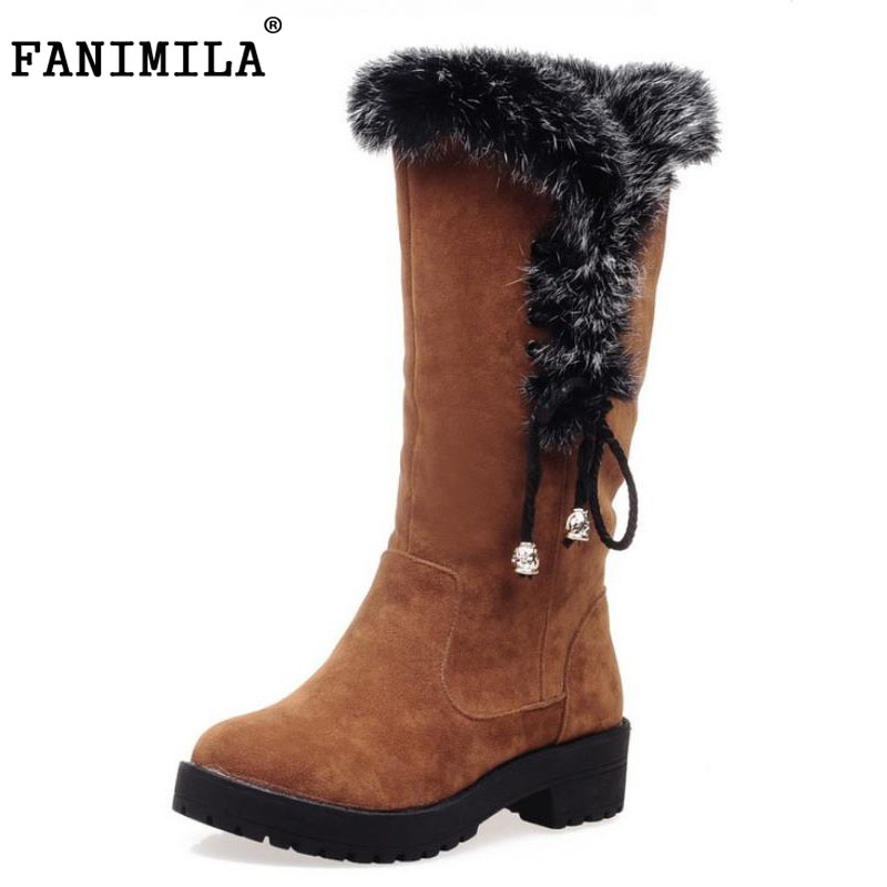 FANIMILA Size 34-43 Women Thick Fur Snow Boots Women Round Toe Slip on Platform Shoes Women Mid Calf Winter Warm Botas Footwear high quality genuine leather mid calf boot winter slip on warm snow boots women suede thick sole platform invisible wedges shoes